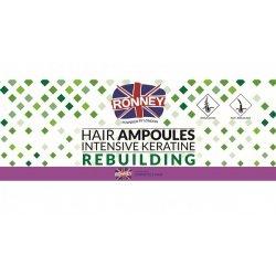 Ampułki do włosów z keratyną, Ronney Hair Ampoules Intensive Keratin Rebuilding, 12x10ml