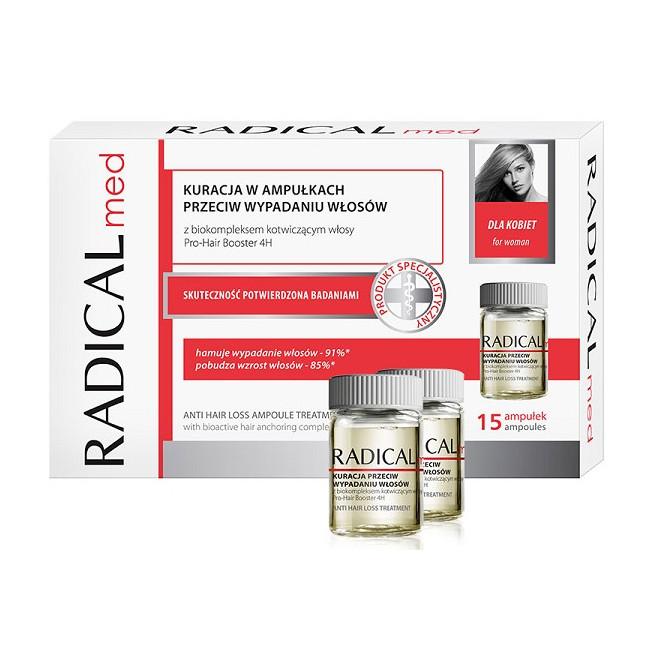 Kuracja w ampułkach przeciw wypadaniu włosów dla kobiet Radical Med 15 x 5ml